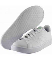 tenis blanco adidas advantage base cloud white / cloud white / green ee7690