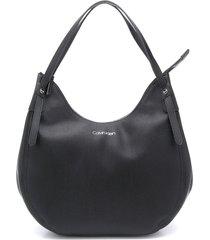 calvin klein logo-print hobo bag - black