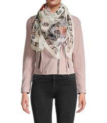 alexander mcqueen women's skulls on butterflies silk scarf - ivory pink