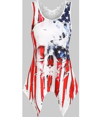 american flag skull print lace insert handkerchief tank top