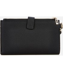 guess women's uptown chic double zip organizer wallet - black