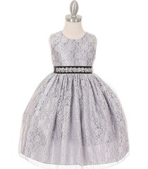silver two-tone full lace with pearl sequin rhinestone sash flower girl dress