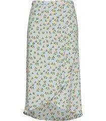 wrap skirt knälång kjol blå by ti mo