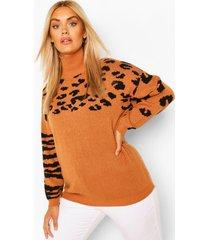 plus animal pattern oversized sweater, camel