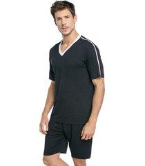 pijama masculino curto preto com gola off white - off-white/preto - masculino - viscose - dafiti
