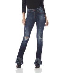 calça jeans denim zero boot cut média com franjas - dz2609