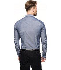 koszula bexley 2739 długi rękaw slim fit niebieski