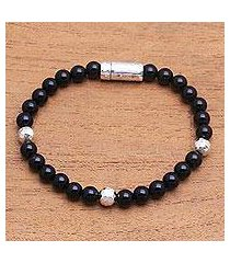 onyx beaded bracelet, 'hammered beauty' (indonesia)