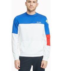 tommy hilfiger men's essential colorblock logo sweatshirt bright white - s
