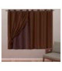 cortina blackout em tecido class c/ voil tabaco corta luz 2,80m x 1,60m