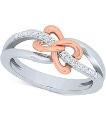 diamond two-tone bow ring (1/10 ct. t.w.) in sterling silver & 10k rose gold