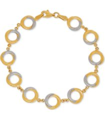two-tone circle link bracelet in 14k gold & rhodium-plate