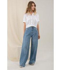 jeans wide leg denim desgastes