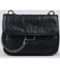 bolsa feminina transversal média matelassê com corrente preta
