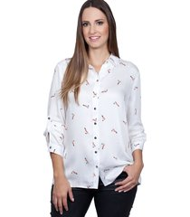 camisa love poetry estampada offwhite