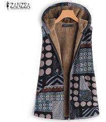 zanzea sudaderas con capucha para mujer chaleco de lunares chaleco de otoño abrigo con capucha tallas grandes -gris