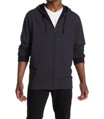 men's vince regular fit bird's eye zip hoodie, size small - blue