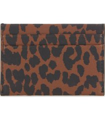 ganni women's leopard print card holder - toffee