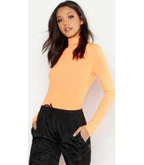 tall neon rib roll neck top, neon-orange