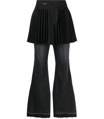sacai skirt overlay suiting jeans - black