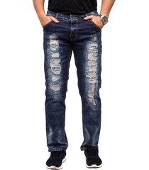 jeans azul oscuro y desgastado para hombres