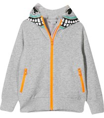 grey sweatshirt with zip and hood