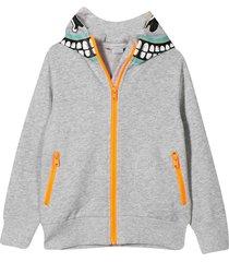 stella mccartney kids grey sweatshirt with zip and hood
