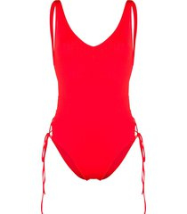 sian swimwear lace-up swimsuit - red