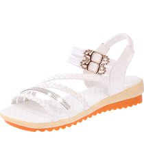 sandalias de mujer de moda con fondo plano, zapatos de punta abierta de color sólido