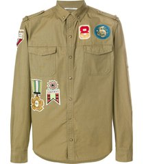 valentino military insignia shirt - green