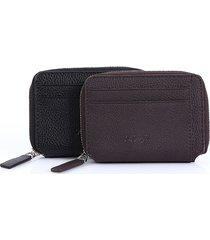 pu leather lichee modello portafoglio 5 porta carte di credito porta monete con cerniera per gli uomini