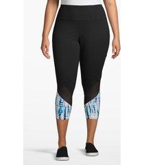 lane bryant women's active capri legging - angled inset 22/24 black/blue print