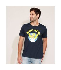 camiseta masculina homer simpsons manga curta gola careca azul marinho