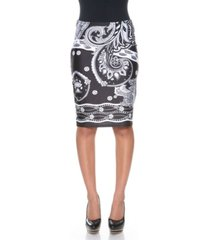white mark pretty and proper bandana print pencil skirt