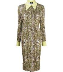 elisabetta franchi leopard-print midi shirt dress - neutrals