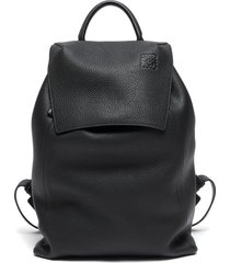 top flap drawstring leather backpack