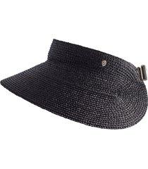 women's helen kaminski classic raffia visor - black