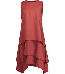 terracotta tiered crewneck mini dress