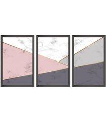 conjunto kit 3 quadro oppen house s 60x120cm escandinavo odense com vidro e moldura preta      quadro oppen house s decorativos - preto - dafiti