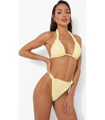 geknoopt tanga bikini broekje met textuur, lemon