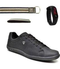 kit sapatênis masculino + relógio digital + cinto + carteira - masculino