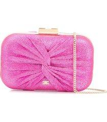elisabetta franchi twist-detail lurex clutch - pink