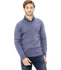 sweater tejido v-neck grueso azul corona
