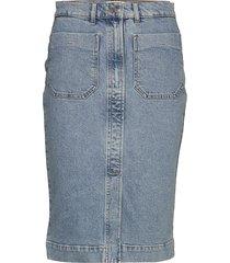 slfstory mw bair blue denim skirt w knälång kjol blå selected femme