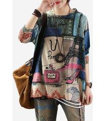 maglione a maniche lunghe vintage knit thin street print