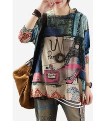 maglione a maniche lunghe vintage knit thin street print