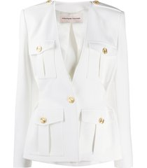 alexandre vauthier multi-pocket fitted jacket - white