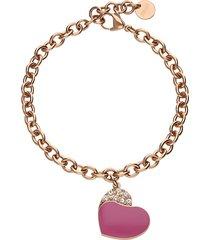 bracciale in acciaio rosato con cuore pendente fucsia con strass per donna
