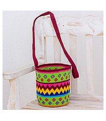crocheted cotton bucket bag, 'pattern bonanza' (guatemala)