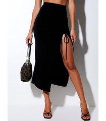 falda de cintura alta con dobladillo con aberturas fruncidas y cordón negro